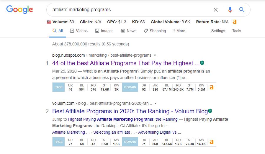 google search affiliate marketing program
