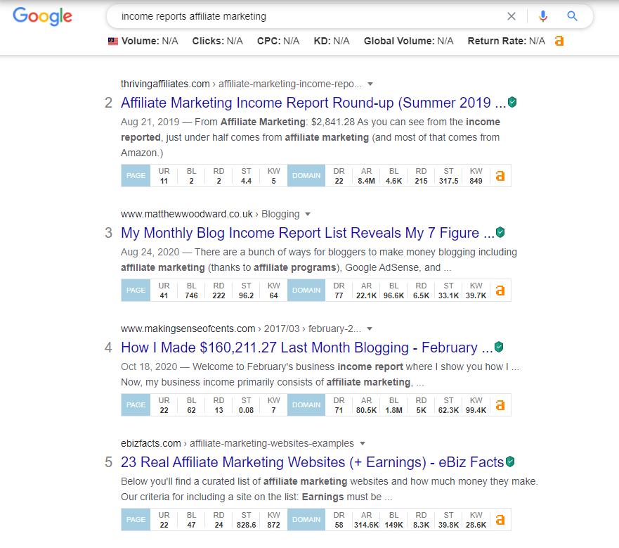 income report affiliate marketing google search