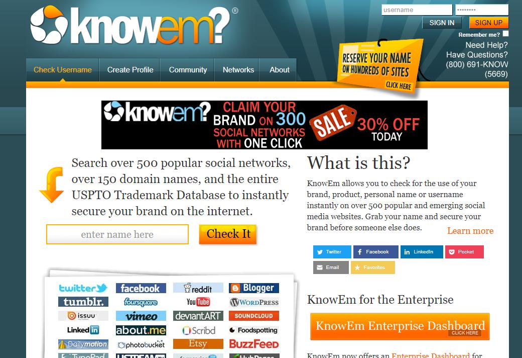 knowem homepage