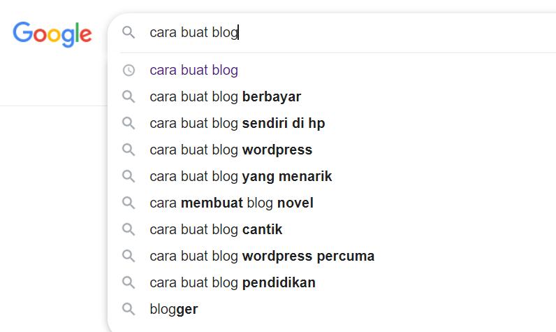 carian google search untuk long tail keyword