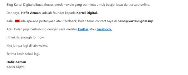 contoh email personal dari kartel digital