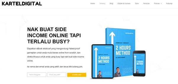 email marketing optin at kartel digital homepage
