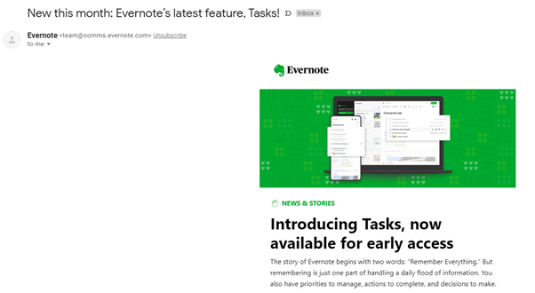 email marketing annoucement from evernote