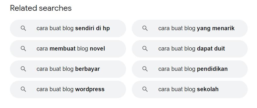 related search dalam google untuk long tail