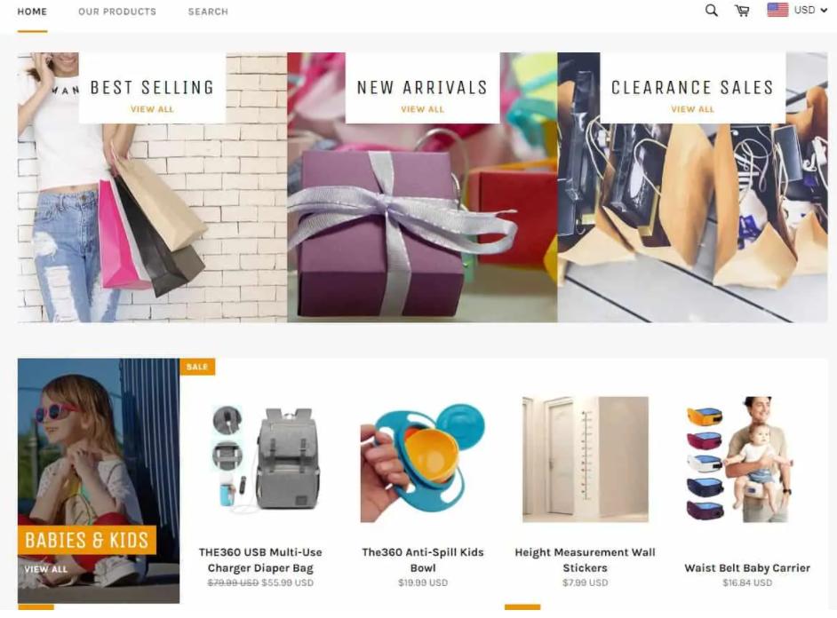 contoh website shopify sendiri