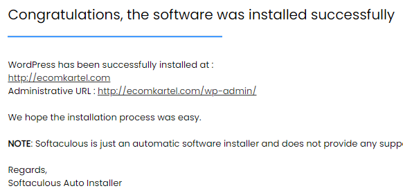 installation successful