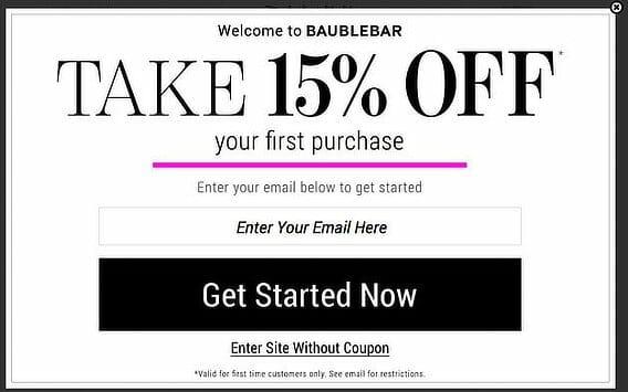 baublebar popup coupon 1